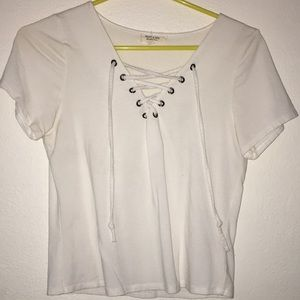 Tops - White lace up t-shirt